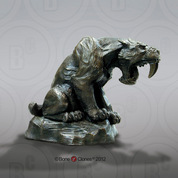 Sabertooth Cat Sculpture, Bronze (faux) Finish